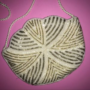 Carla Marchi NWT Beaded Bag White Silver Clear